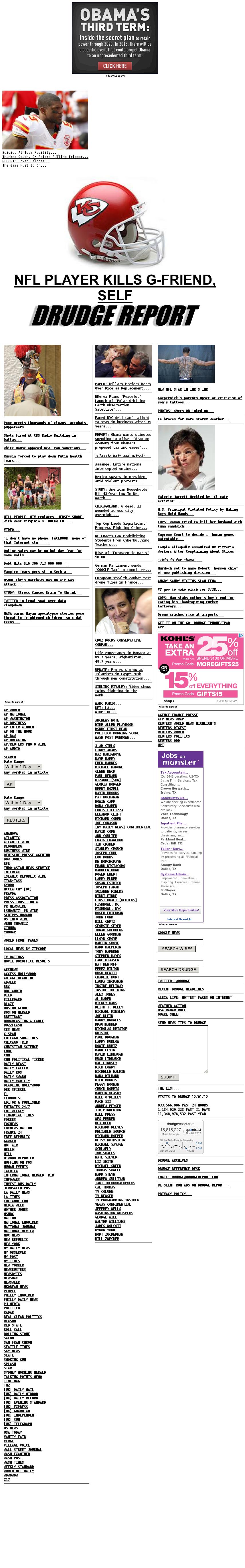 Drudge Report at Saturday Dec. 1, 2012, 9:08 p.m. UTC