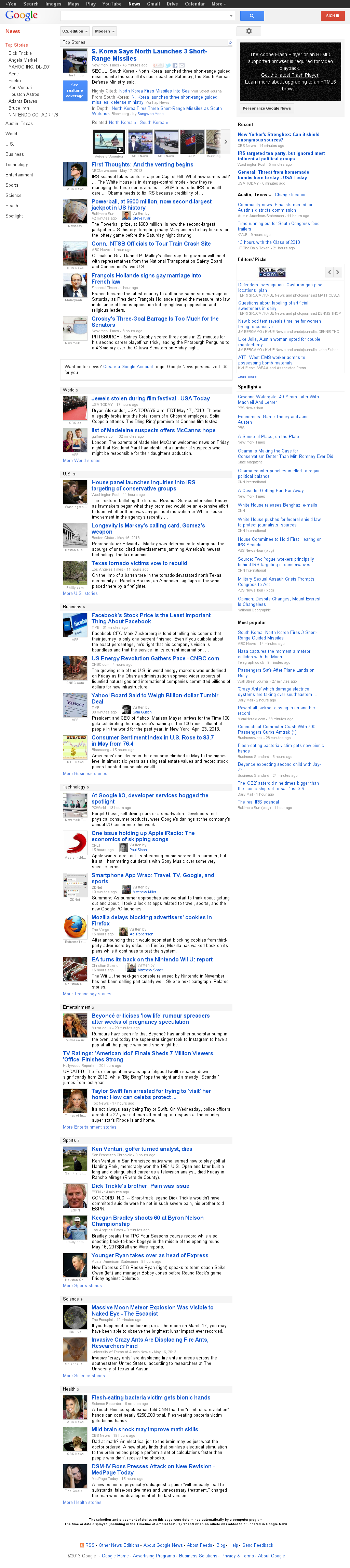 Google News at Saturday May 18, 2013, 1:08 p.m. UTC