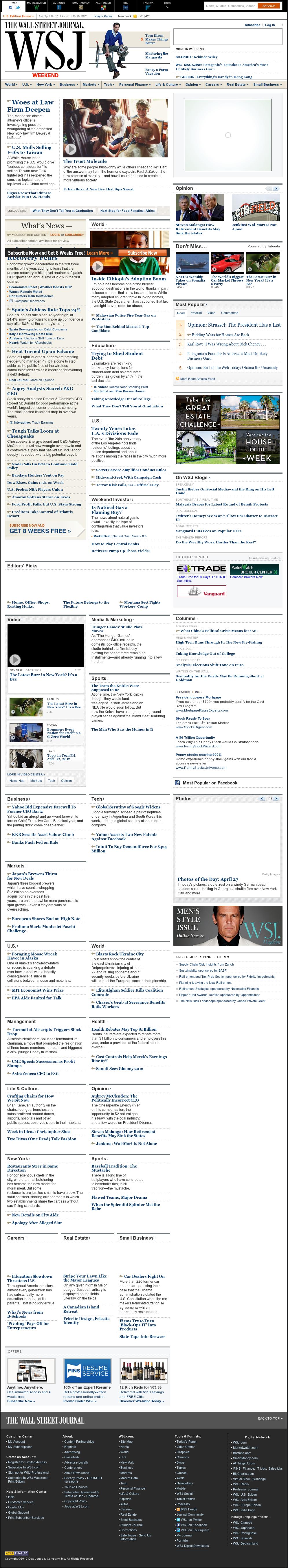 The Wall Street Journal at Saturday April 28, 2012, 3:32 p.m. UTC